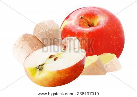 Isolated Fruits. Sweet Red Apple And Ginger Isolated On White Background With Clipping Path As Packa
