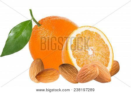 Isolated Fruits. Fresh Oranges And Almonds Isolated On White Background With Clipping Path As Packag