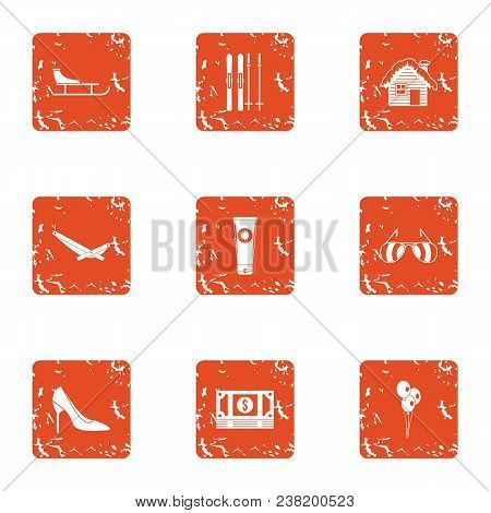 Rich Garden Icons Set. Grunge Set Of 9 Rich Garden Vector Icons For Web Isolated On White Background