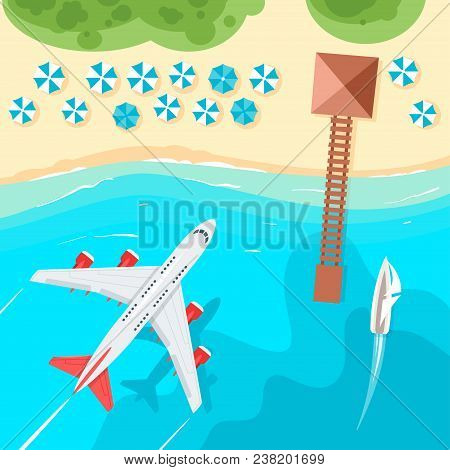 Vector Cartoon Style Background With Tropical Paradise Sea Shore In The Azure Colored Sea. Yacht Sai
