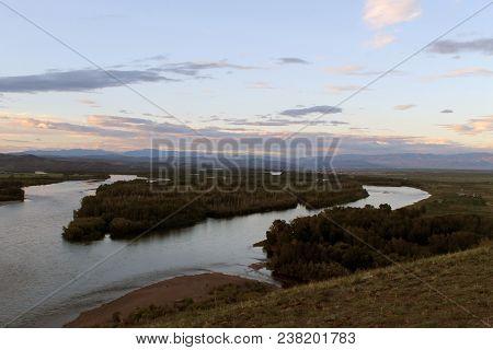 Yenisei River Valley, Southern Siberia. Republic Of Tuva. Autumn Landscape. Yenisei