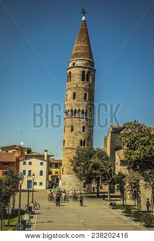 Caorle Italy Venezia In Veneto Region Provincial City Village With Tall Tower Leaned Of Santo Stepha