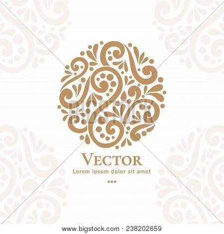 Abstract Golden Logo In A Round Shape. Can Be Used For Jewelry, Beauty And Fashion Industry. Elegant
