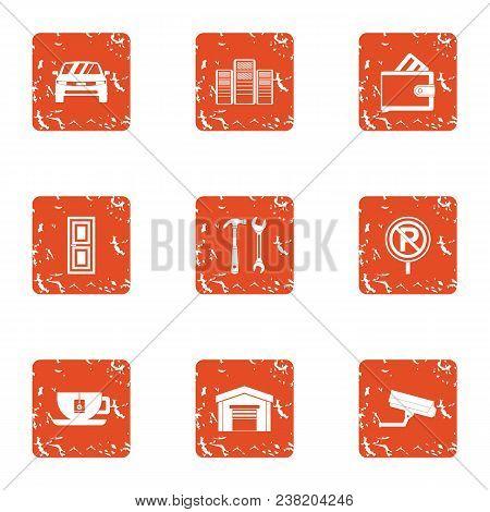 Safe Parking Icons Set. Grunge Set Of 9 Safe Parking Vector Icons For Web Isolated On White Backgrou