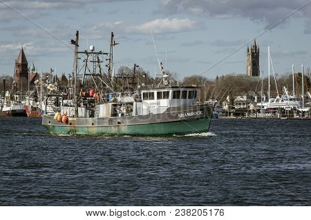 Fairhaven, Massachusetts, Usa - April 26, 2018: Fishing Vessel Shamrock Leaving Port With Fairhaven