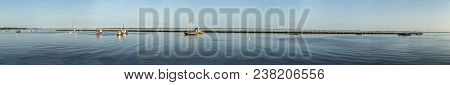 Romantic View To Ships From Pier In Provincetown In Sunset