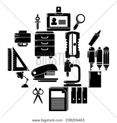 Stationery Icons Set. Simple Illustration Of 16 Stationery Vector Icons For Web
