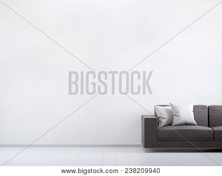Modern Vintage Living Room. Brown Leather Sofa On A Grey Wooden Floor And Light Wall. Mockup For You