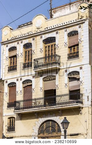 Fragment Facade Of A Building At Traditional Vintage Apartment Architecture, Colorful Facade Of A Re