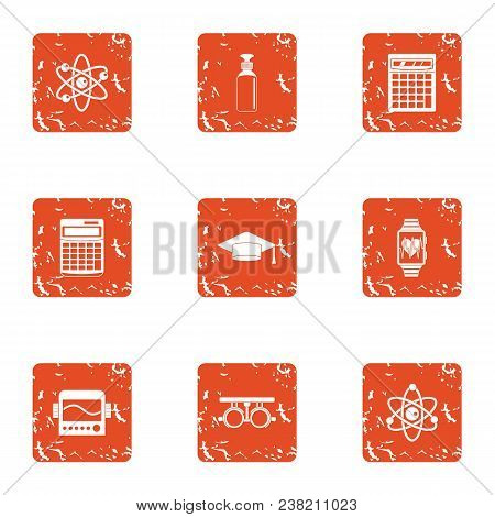 Physician Icons Set. Grunge Set Of 9 Physician Vector Icons For Web Isolated On White Background