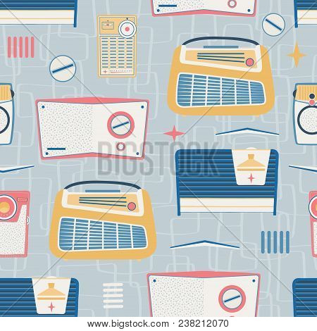 Vector Primary Light Gray Vintage Radios Seamless Pattern Background. Surface Pattern Design Perfect