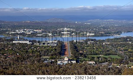 Panoramic View Of Canberra, Australia In Daytime From Mount Ainslie Featuring The Australian War Mem