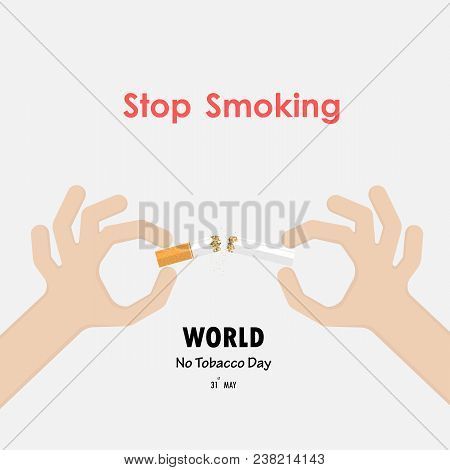 Stop Smoking With Human Hands Breaking The Cigarette.human Hand Crushing Cigarette.hands And Quit To