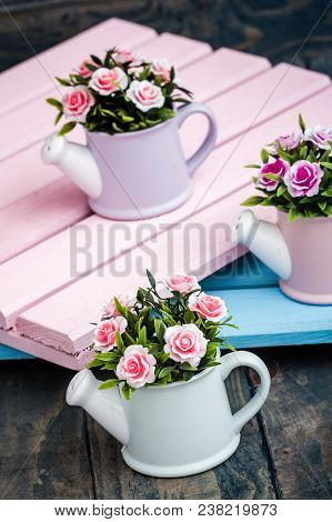 Artificial Colorful Flowers In Decorative Flowerpots
