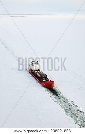 Krasnoyarsk Region, Russia - March 29, 2017: Icebreaker Zapolyarny On The Frozen Yenisei River In Si