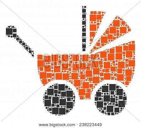 Baby Carriage Composition Icon Of Rectangles And Circles In Variable Sizes. Vector Objects Are Forme