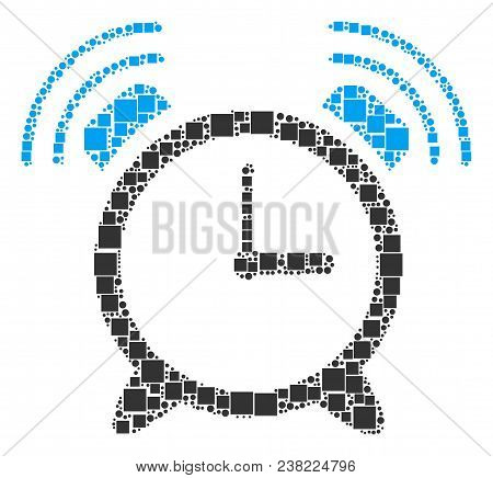 Buzzer Composition Icon Of Square Shapes And Round Items In Variable Sizes. Vector Items Are Combine