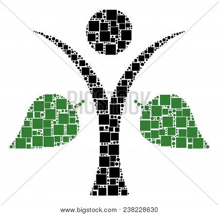 Ecology Man Collage Icon Of Squares And Spheric Dots In Different Sizes. Vector Objects Are Composed