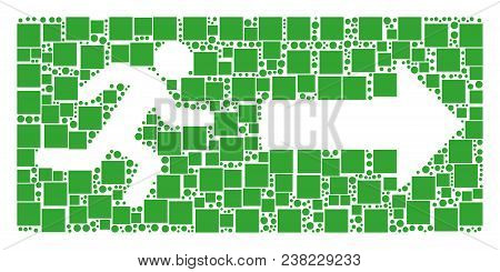 Emergency Exit Collage Icon Of Rectangles And Round Items In Different Sizes. Vector Items Are Scatt