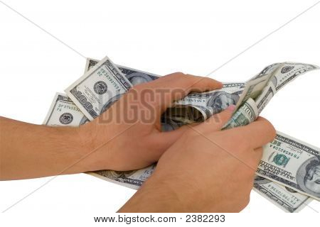 Grabbing Money Over White