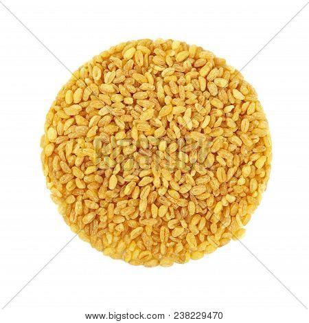 Round Shaped Yellow Traditional Bulgur (bulghur, Burghul) Big Grains Of Durum Wheat, Isolated On Whi