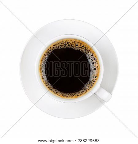 Close Up One Full White Cup Of Black Instant Coffee On Saucer Isolated On White Background, Elevated
