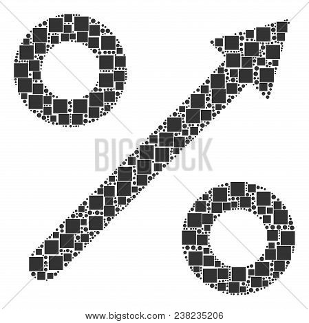 Growing Percent Composition Icon Of Rectangles And Round Items In Various Sizes. Vector Objects Are