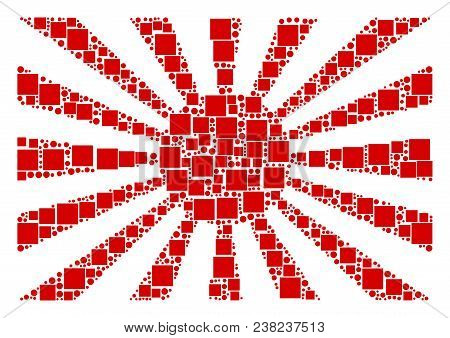 Japanese Rising Sun Collage Icon Of Square Shapes And Spheric Dots In Various Sizes. Vector Items Ar