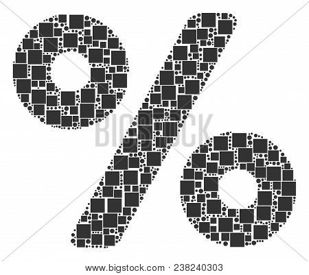 Percent Composition Icon Of Squares And Circles In Various Sizes. Vector Objects Are Formed Into Per