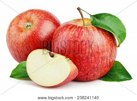 Ripe Red Apple Fruits With Apple Slice And Apple Green Leaves Isolated On White Background. Red Appl