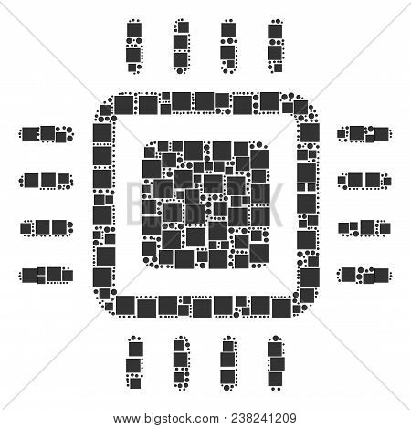 Processor Composition Icon Of Square Figures And Circle Particles In Different Sizes. Vector Objects