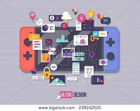 The Process Of Developing Interface For Game Console. Flat Design Template For Mobile App And Websit