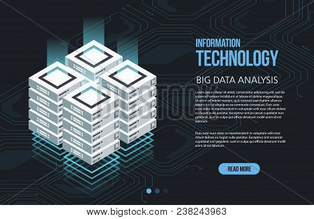 Concept Of Big Data Processing, Isometric Data Center, Vector Information Processing And Storage. Cr