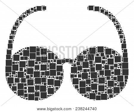 Spectacles Mosaic Icon Of Square Shapes And Circles In Variable Sizes. Vector Objects Are United Int