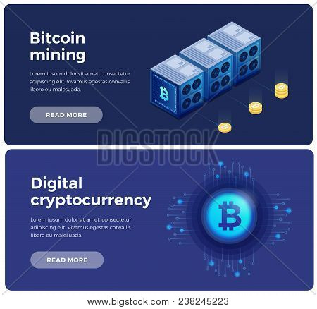 Banners On Theme Of Cryptocurrency And Blockchain. Digital Currency Or Cryptocurrency Mining Farm. I