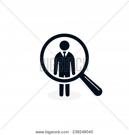 Search For Employees And Job, Business, Human Resource. Looking For Talent. Search Man Vector Icon.