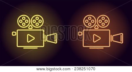 Neon Cinema Projector In Yellow And Orange Color. Vector Illustration Of Cinema Projector With Play