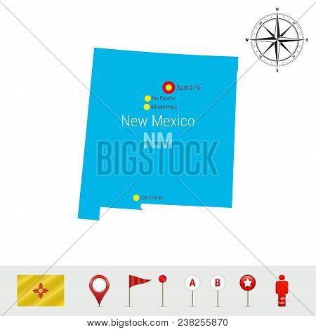 New Mexico Vector Map Isolated On White Background. Detailed Silhouette Of New Mexico State. Vector