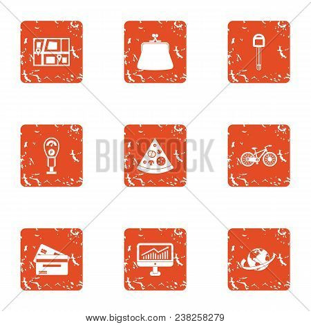 Urban Pay Icons Set. Grunge Set Of 9 Urban Pay Vector Icons For Web Isolated On White Background