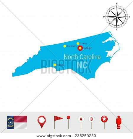 North Carolina Vector Map Isolated On White. Detailed Silhouette Of North Carolina State. Vector Fla