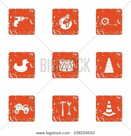 Freeway Icons Set. Grunge Set Of 9 Freeway Vector Icons For Web Isolated On White Background