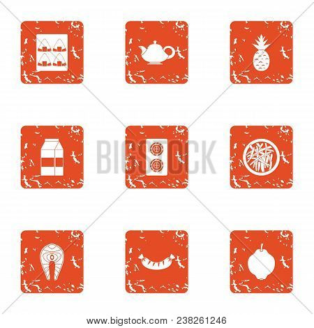 Vital Activity Icons Set. Grunge Set Of 9 Vital Activity Vector Icons For Web Isolated On White Back