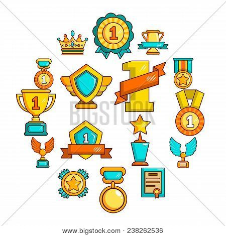 Awards Medals Cups Icons Set. Flat Illustration Of 16 Awards Medals Cups Vector Icons For Web