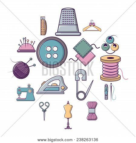 Tailor Tools Icons Set. Cartoon Illustration Of 16 Tailor Tools Vector Icons For Web