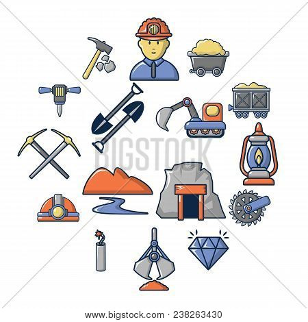Mining Minerals Business Icons Set. Cartoon Illustration Of 16 Mining Minerals Business Vector Icons