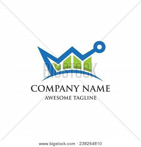 Abstract Crown Financial Logo. Finance Bar Chart Or Stock Exchange Icon Symbol. Logo Template Ready