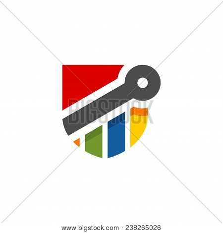 Abstract Colorful Shield Shape Financial Logo. Finance Arrow Bar Chart Or Stock Exchange Icon Symbol