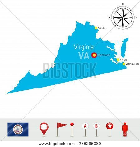 Virginia Vector Map Isolated On White Background. High Detailed Silhouette Of Virginia State. Vector