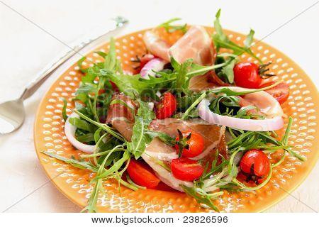 Prosciutto with rocket salad