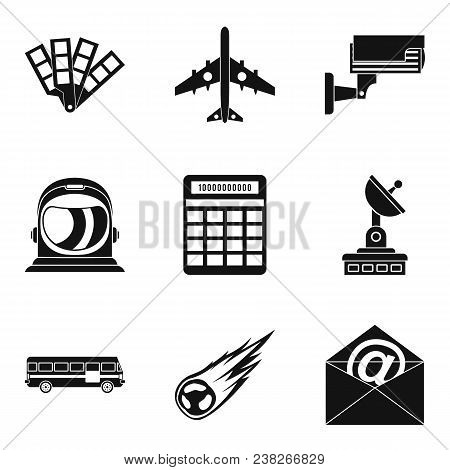 Geo Wireless Icons Set. Simple Set Of 9 Geo Wireless Vector Icons For Web Isolated On White Backgrou